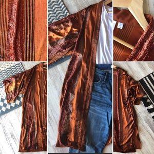 ANTHROPOLOGIE Kimono with Metallic Stripes M/L
